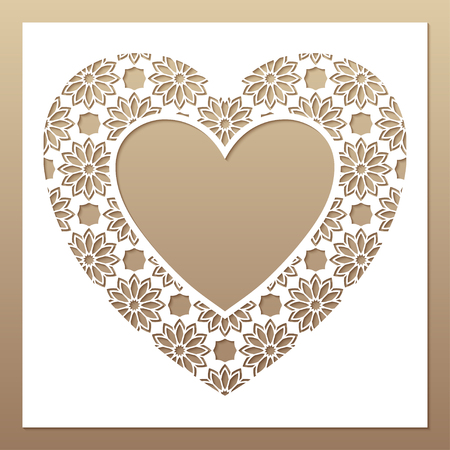 White frame with openwork heart. Laser cutting template for greeting cards, envelopes, wedding invitations, interior decorative elements.