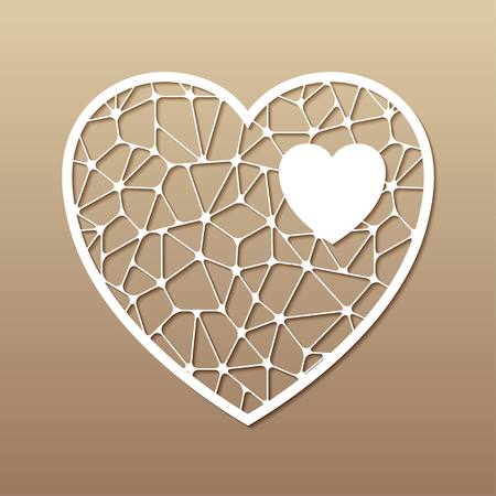 Openwork heart. Laser cutting template for greeting cards, envelopes, wedding invitations, interior decorative elements.