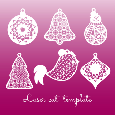 Set of openwork Christmas decorations. Laser cutting template. Stock Illustratie