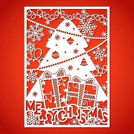 Christmas tree with decorations. Laser Cutting template for greeting cards, envelopes, invitations, interior elements.