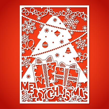 Weihnachtsbaum mit Dekorationen. Laserschneidschablone für Grußkarten, Umschläge, Einladungen, Innenelemente.