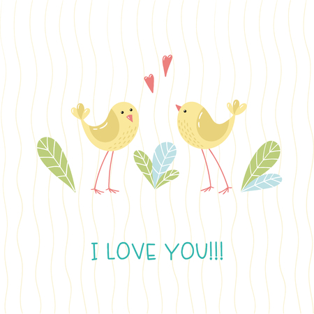 Two ittle cartoon birds, leaves and handwritten inscription I love you. Vector illustration.  イラスト・ベクター素材