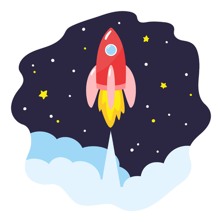 Launch spacecraft in outer space. Red cartoon rocket soars up. Vector illustration. Ilustração