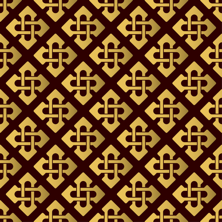 Seamless pattern with golden celtic crosses. Vector template. Suitable for textiles, wallpapers, wrappers and giftpaper. Archivio Fotografico - 110288283