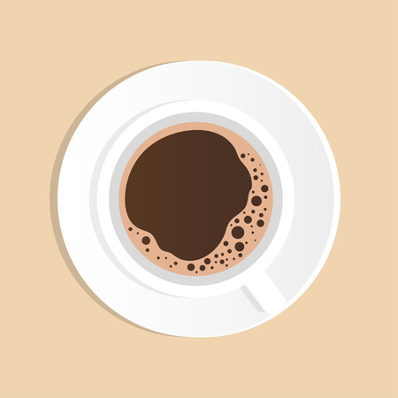 Cup of coffee, top view. Fragrant black espresso with foam, vector flat illustration. Vektorové ilustrace