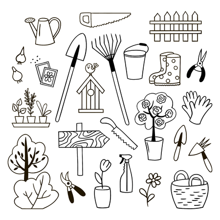 Set of gardening doodles. Black and white vector illustration. 向量圖像