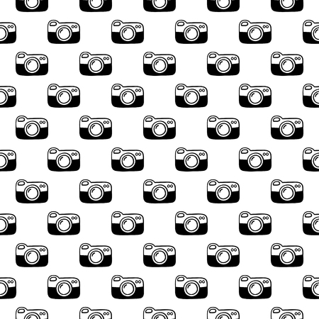 Seamless pattern with cameras. Black and white vector template.