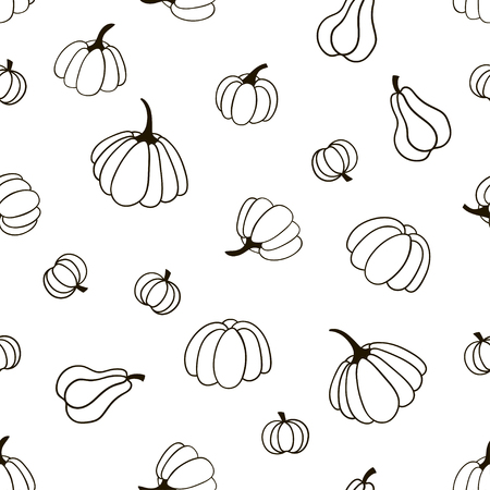 Seamless pattern with pumpkins. Black and white vector template suitable for fabric, textile or wrapping paper.