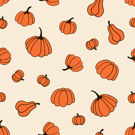 Seamless pattern with pumpkins. Vector template suitable for fabric, textile or wrapping paper. 向量圖像