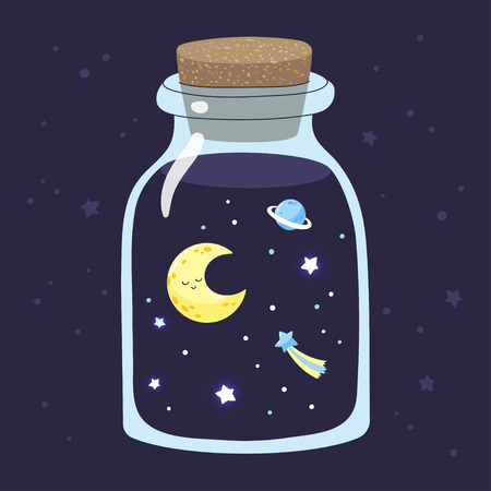 Cartoon crescent with stars in a magic glass jar. Vector illustration.
