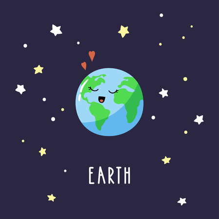 Lovely cartoon Earth in the night sky. Bright vector illustration suitable for greeting card, poster or print on a T-shirt.