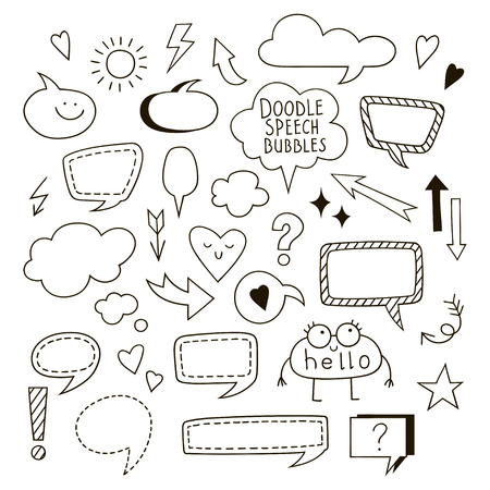 Set of simple speech bubbles, dialog balloons and arrows. Collection of black and white Vector elements for your design. 向量圖像