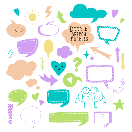 Set of simple speech bubbles, dialog balloons and arrows. Collection of Vector elements for your design.