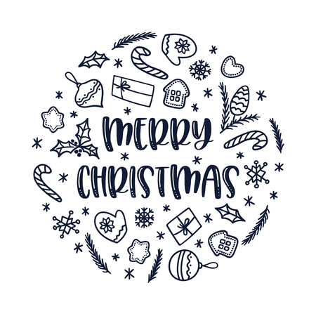 Christmas greeting card with doodle decorations on white background. Vector circle ornament. Sutable for winter holidays.
