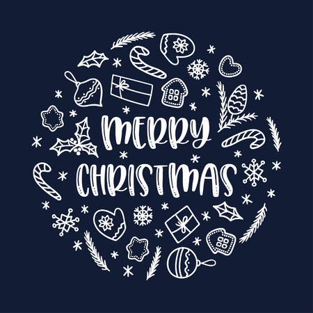 Christmas greeting card with doodle decorations on blue background. Vector circle ornament. Sutable for winter holidays. 向量圖像