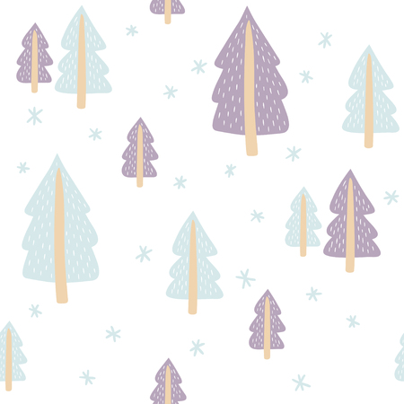 Seamless pattern with cute fir-trees on white background. Vector template suitable for print on festive textiles, wrapping paper, bedding.