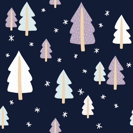 Seamless pattern with cute fir-trees. Vector template suitable for print on festive textiles, wrapping paper, bedding.