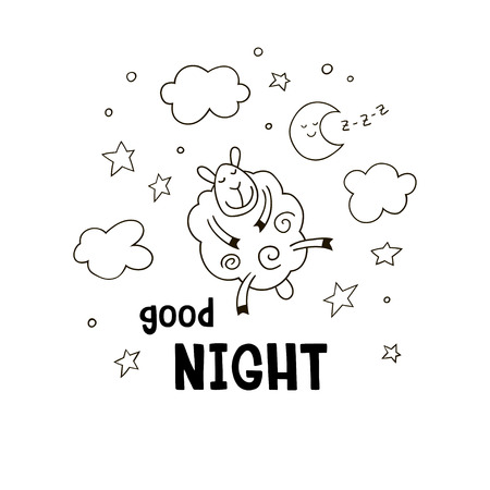 Good night cartoon background for kids. Hand drawn doodle cute lamb with clouds, stars, moon and inscription Good night. Black and white vector illustration.