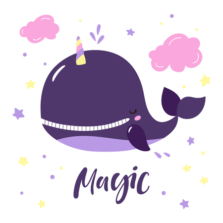 Cartoon pretty unicorn whale with lettering Magic. Vector illustration.