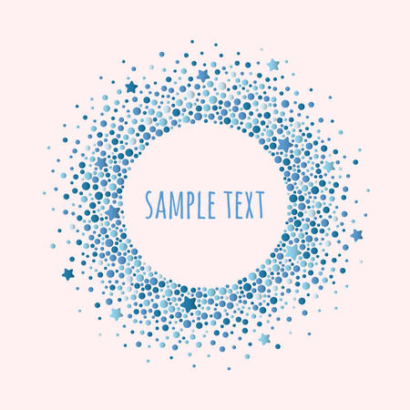 Round dotted frame with space for text. Frame of blue dots and stars of various size. Vector abstract background. 向量圖像