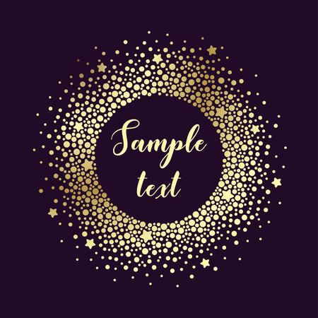 Luxury card with round frame of different sized golden dots and stars on a purple background. Vector background suitable for greeting cards, invitations, packaging, business cards.