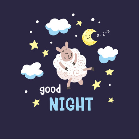 Dark night background with cute cartoon poddy, moon and clouds. Childish poster. Vector illustration with cute lamb and inscription Good night.