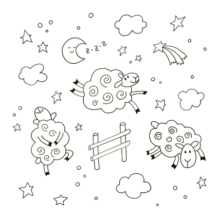 Good night cartoon background for kids. Hand drawn doodle cute sheep jumping over the fence in the night sky. Black and white vector illustration.