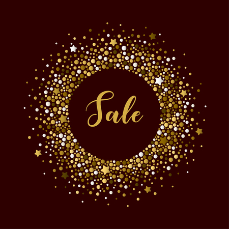 Luxury background with round frame of different sized golden dots and stars. Vector template suitable for advertising, cards, invitations, packaging, business cards.