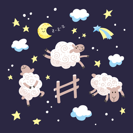 Good night cartoon illustration for kids. Hand drawn cute sheep jumping over the fence in the night sky. Vector illustration. 向量圖像
