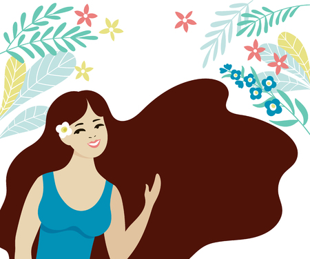 Beautiful young girl with long dark hair. Smiling brunette in blue dress. Vector flat illustration.
