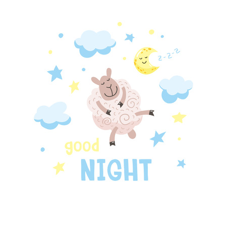 Sky background with cute cartoon poddy, moon and clouds. Childish poster. Vector illustration with cute lamb and inscription Good night. 向量圖像