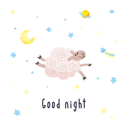 Sky background with cartoon sheep, moon, stars and comet. Childish poster. Vector illustration with cute lamb and inscription Good night.