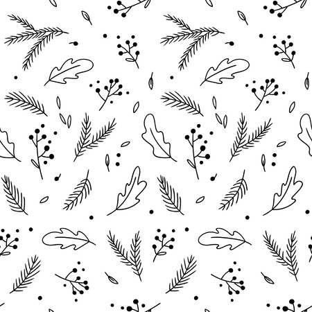 Seamless pattern with tender hand-drawn sprigs and leaves. Vector black and white background.