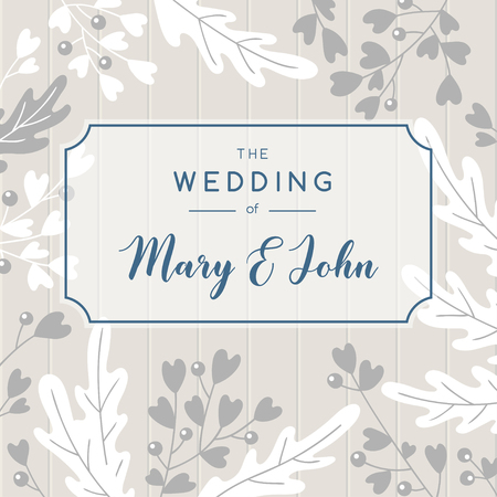 Elegant wedding invitation background. Vector greeting card design with tender floristic elements and area for text.