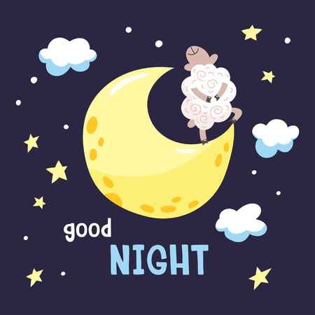 Sky background with cartoon lamb on the moon. Childish poster. Vector illustration with cute dreaming lamb and inscription Good night. Illustration