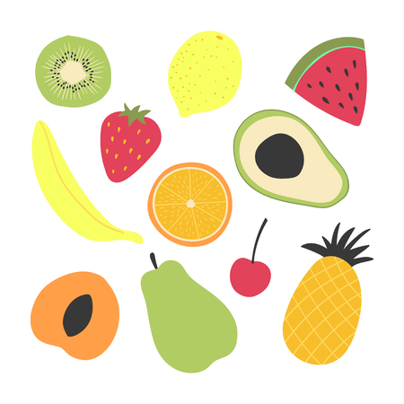 Vector set of decorative fruits isolated on the white. Suitable for print, decor.