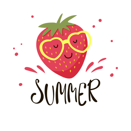 Cute strawberry in yellow sunglasses. Vector illustration with cartoon strawberry and inscription Summer. 向量圖像