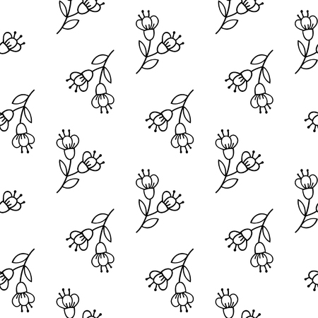 Seamless pattern with tender hand-drawn flawers. Vector black and white background.