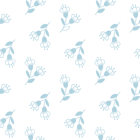 Seamless pattern with tender hand-drawn flawers. Vector background. 向量圖像