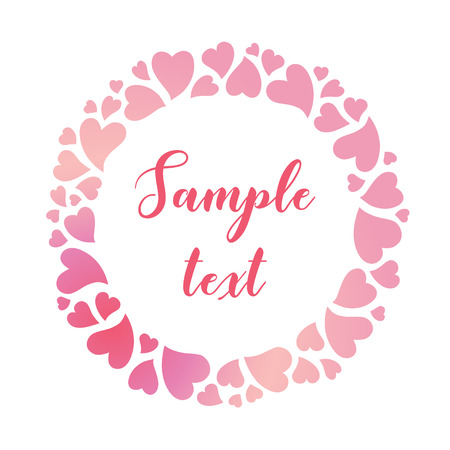 Round tender frame of pink gradient hearts. Vector valentines day background suitable for greeting cards, invitations and posters.