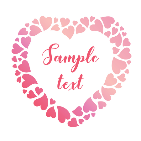 Delicate frame of pink gradient hearts. Vector valentines day background suitable for greeting cards, invitations and posters.