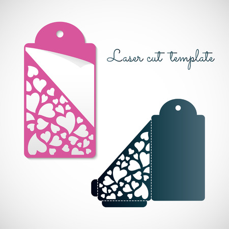 Openwork envelope tag with hearts. Laser cutting vector template.