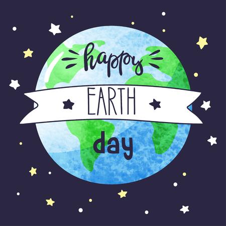 Earth day vector cartoon card. Vector illustration.