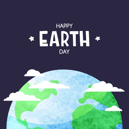 Planet Earth with clouds in the dark sky. Happy Earth day background. 向量圖像