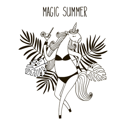 Cute unicorn girl in a bathing suit with a glass of martini. Black and white vector illustration.