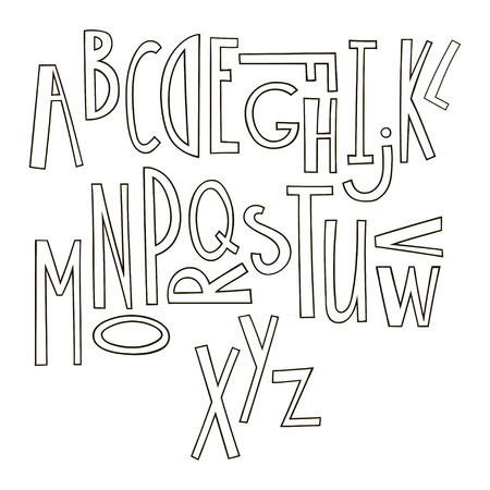 Black and white hand drawn graphic font. Cartoon alphabet suitable for the design of posters, greeting cards, prints on clothing.