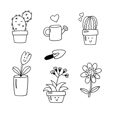 Set of cute cartoon potted plants. Black and white vector clipart. Illustration