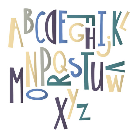 Hand drawn graphic font. Cartoon alphabet suitable for the design of posters, greeting cards, prints on clothing. 向量圖像