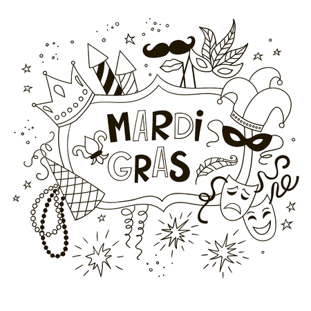 Mardi Gras background with doodle icons and objects. Black and white vector template.