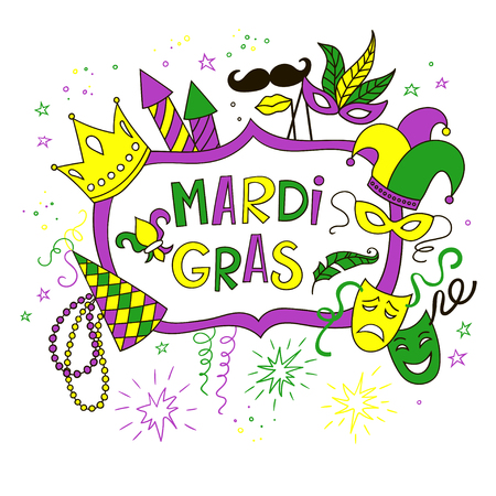 Mardi Gras background with doodle icons and objects. Colorful vector template.